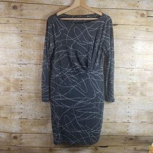 Three Dots Small Grey Geometric Dress Stretch